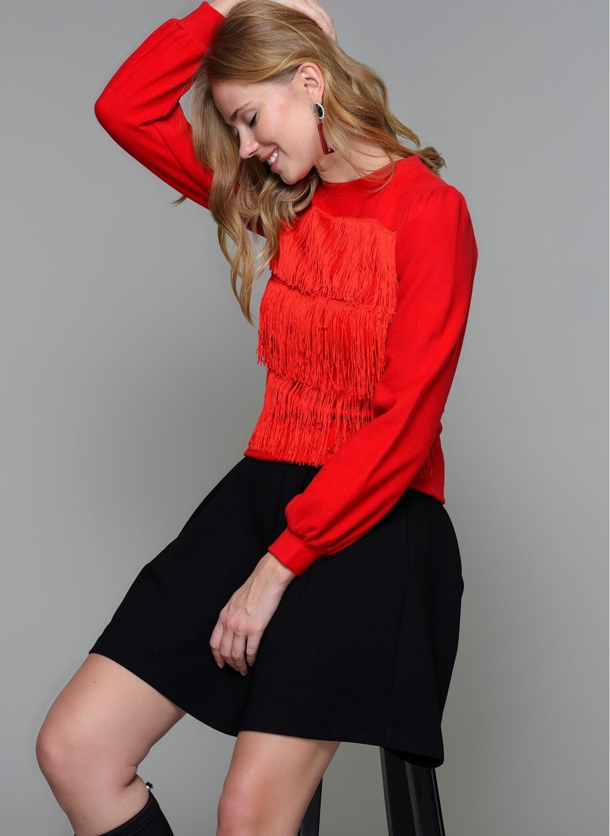 4fe7e3edfc21b Loves You Kadın Püsküllü Bluz Kırmızı | Morhipo | 20560542